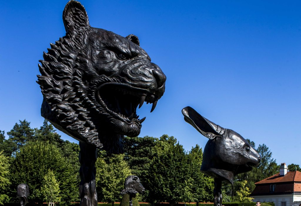 """Ai Weiwei's monumental installation, """"Circle of Animals/Zodiac Heads"""" located at the Upper Belvedere, Vieena 2016"""