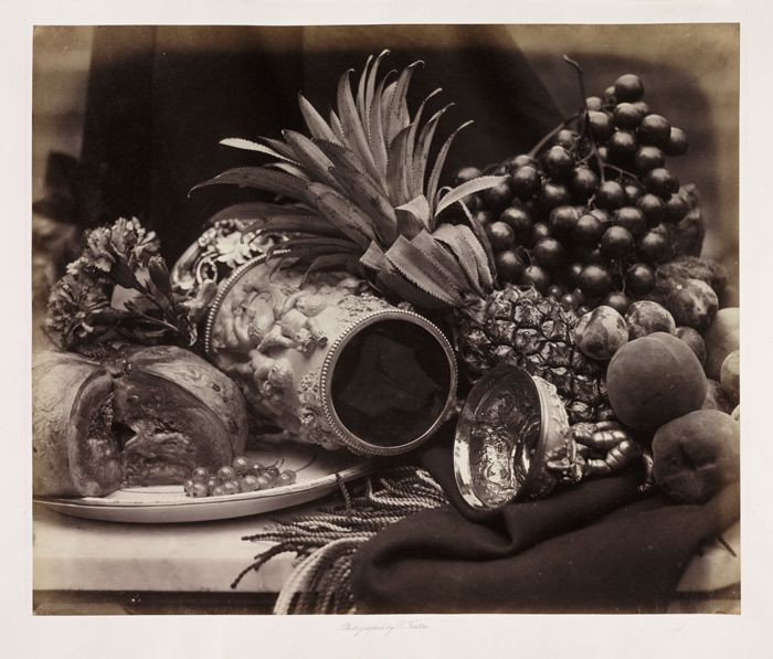 Still life with ivory tankard and fruit (c1860) by Roger Fenton