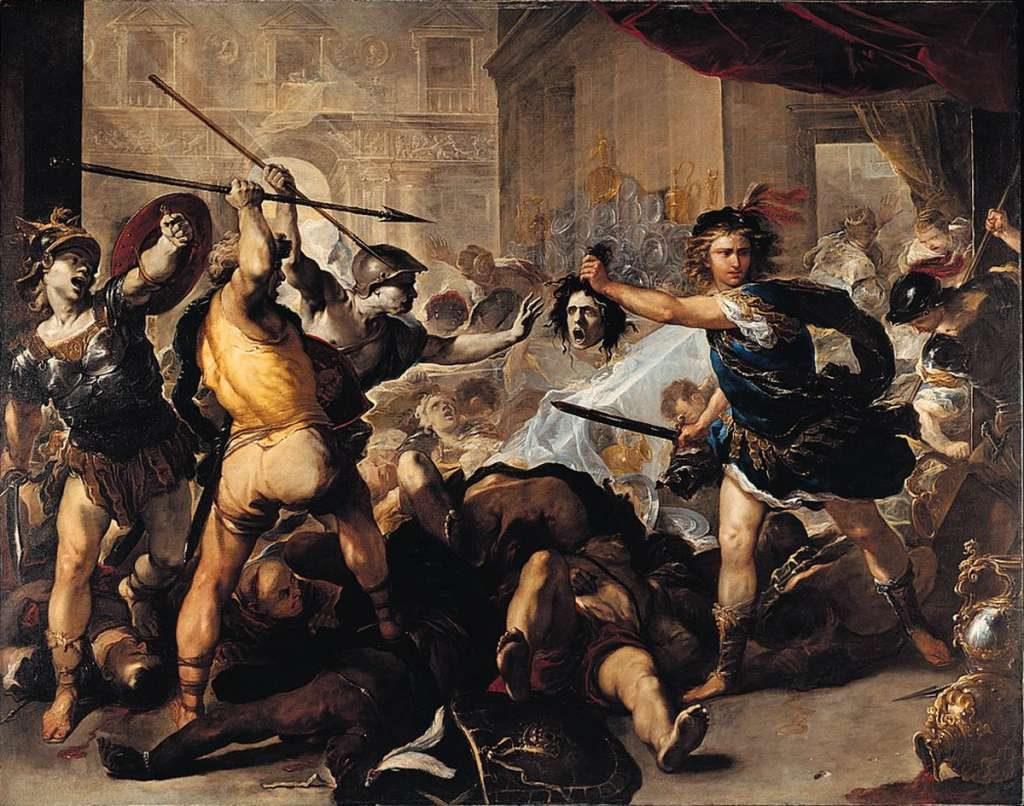 Luca Giordano - Perseus turning Phineas to Stone