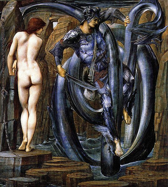 Edward Burne-Jones, Perseus Fighting Cetus 1888.