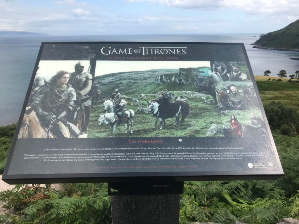 Signage board for Game of Thrones filming location at Stormlands