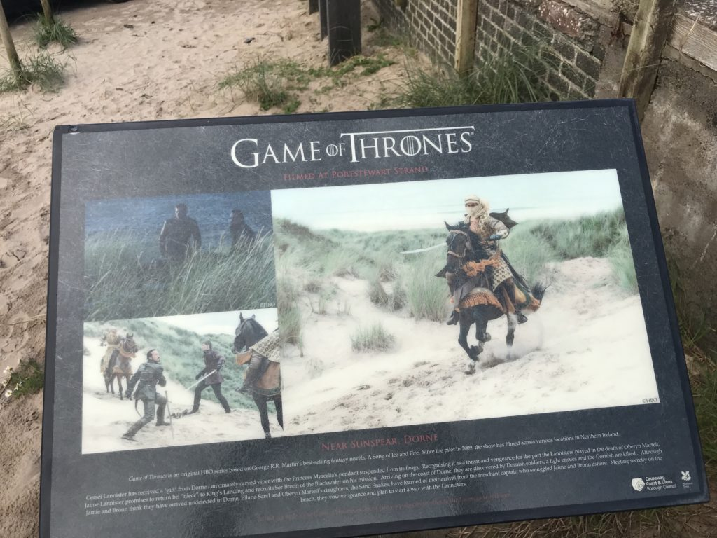 Information board for Game of Thrones filming location at Port Stewart